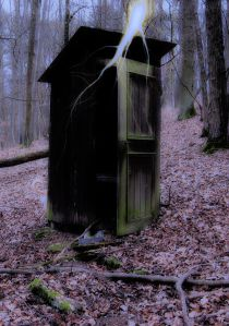 Outhouse being struck by lightning