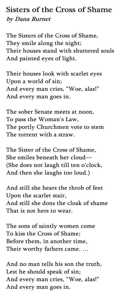There was even a famous poem written about prostitution