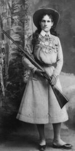 Annie Oakley with one of her famous guns