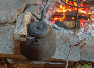 Coffee and a camp fire - a welcoming feature of the end of the cowboy's day