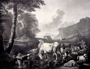 Scene of cattle and sheep drinking in stream, from original by Heinrich Roos