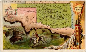 Series of advertising cards issued by Arbuckle Bros. Coffee Company, each consisting of a map of a United States state or territory with related illustrations.