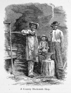 A village blacksmith in the mid-nineteenth century - note the three generations gathered together